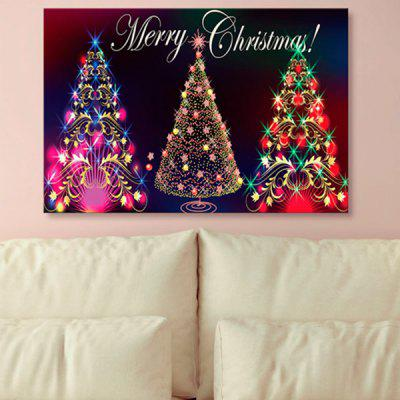 Neon Christmas Tree Print Canvas Wall Art Painting