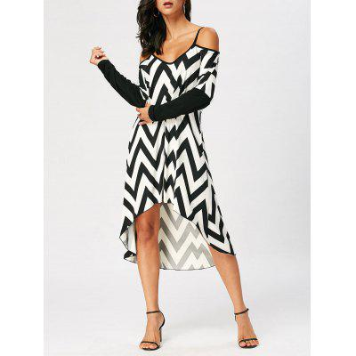 High Low Cold Shoulder Cheveron Print Dress