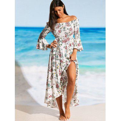 Off Shoulder Front Slit Floral Beach Dress