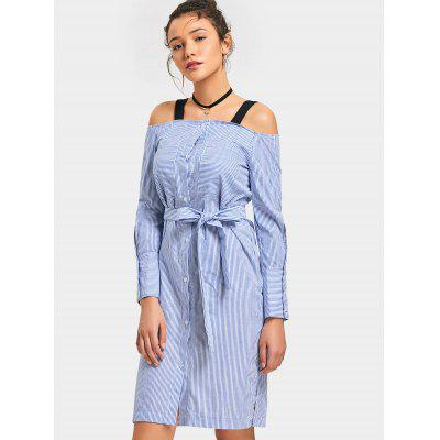 Stripes Cold Shoulder Button Up Long Sleeve Dress