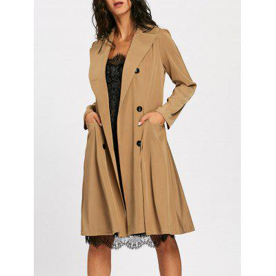 Lapel Collar Double Breast Shift Trench Coat