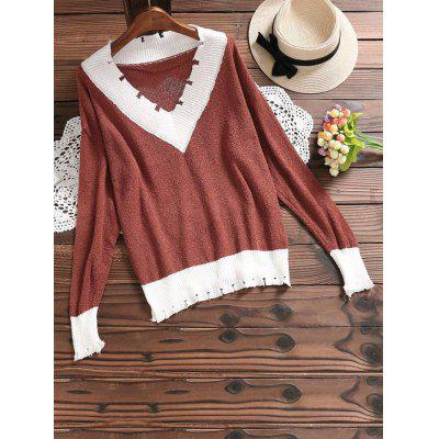 Buy DARK AUBURN Contrast V Neck Knitted Top for $29.87 in GearBest store
