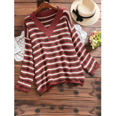 Buy CLARET Side Slit V Neck Striped Sweater for $33.06 in GearBest store
