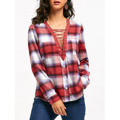 Deep V Neck Lace-up Plaid Blouse