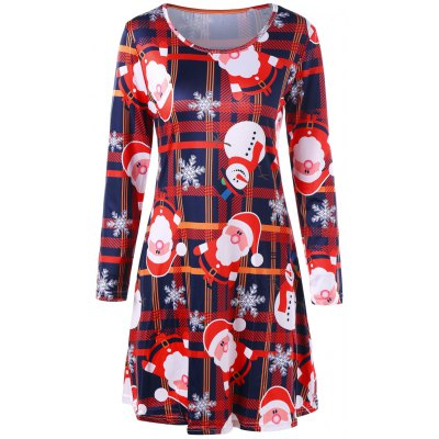 Christmas Santa Claus Snowflake Plaid Dress