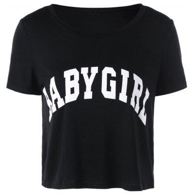 Buy BLACK XL Baby Girl Cropped T-shirt for $11.57 in GearBest store