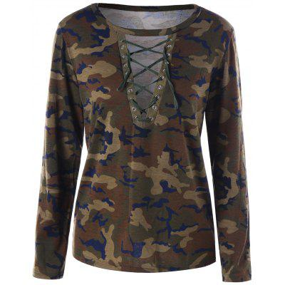 Camouflage Lace Up T-shirt