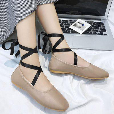 Criss Cross Lace Up Ankle Strap Flat Shoes