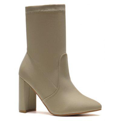 Chunky Heel Point Toe Ankle Boots