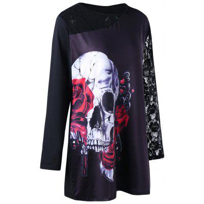 Buy BLACK 3XL Halloween Plus Size Lace Insert Skull Print Tunic T-shirt for $19.80 in GearBest store