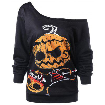 Halloween Plus Size Skew Collar Graphic Sweatshirt