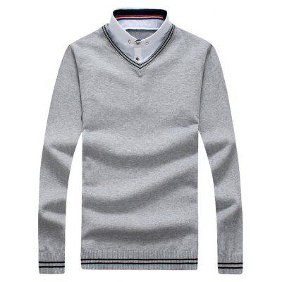 Button Down Panel Faux Twinset Polo Sweater