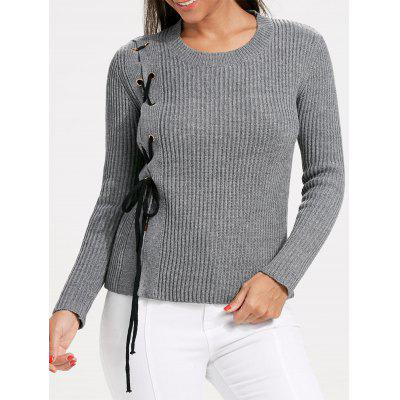 Crew Neck Lace Up Chunky Sweater