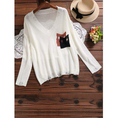 Buy WHITE V Neck Ripped Pocket Knit Top for $28.68 in GearBest store