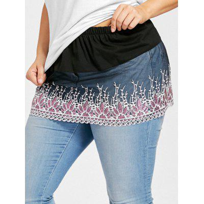 Buy BLACK XL Plus Size Scalloped Sheer Floral Lace Extender Skirt for $13.40 in GearBest store
