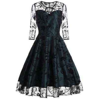 Buy BLACKISH GREEN XL Keyhole Sheer Sleeve Lace Vintage Dress for $27.83 in GearBest store