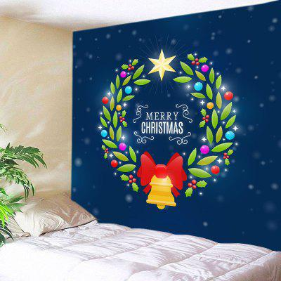 Buy DEEP BLUE Wall Hanging Art Christmas Wreath Print Tapestry for $13.85 in GearBest store