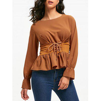 Buy BROWN S Lace Up Bell Sleeve Chiffon Peplum Blouse for $24.18 in GearBest store