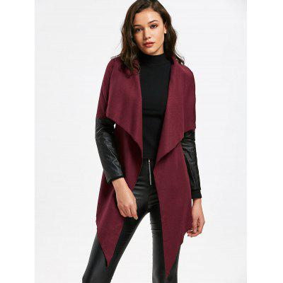 Faux Leather Insert Belted Coat