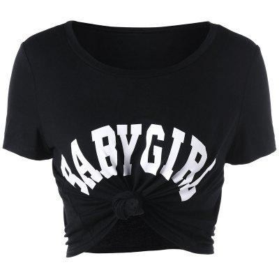 Buy BLACK S Baby Girl Cropped T-shirt for $13.21 in GearBest store