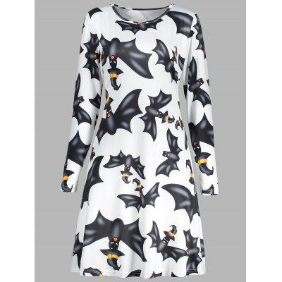 Halloween Bat Print A Line Tunic Dress