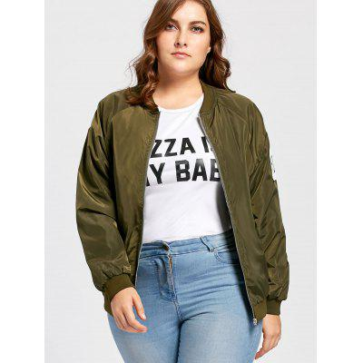 Plus Size Zip Up Letter Patched Bomber Jacket