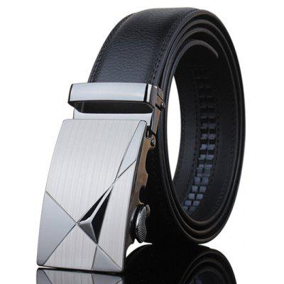 Stilfuld Triangle Shape Udsmykket Metal Buckle Black Wide Belt For Men