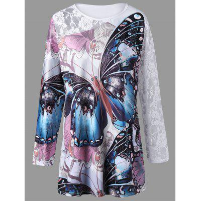 Tamanho grande 3D Butterfly Print Lace Insert Tunic T-shirt