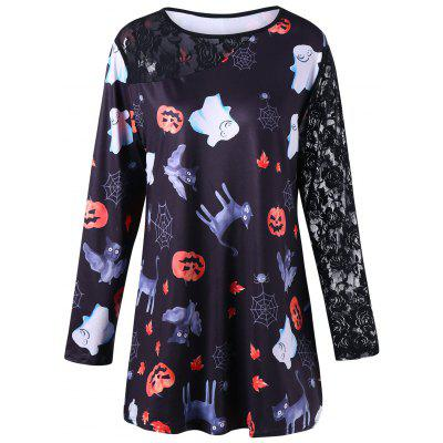 Halloween Plus Size Lace Insert T-shirt
