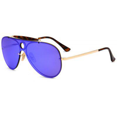 Leopard Bar Hollow Round Pilot Shield Sunglasses