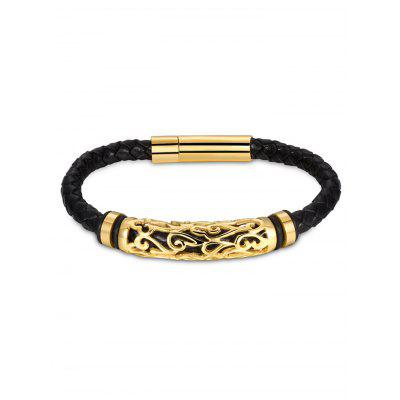 Hollow Out Carve Alloy Weaving Faux Leather Bracelet