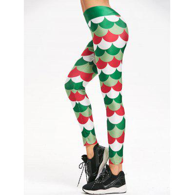 Christmas Fish Scale Printed Mermaid Leggings