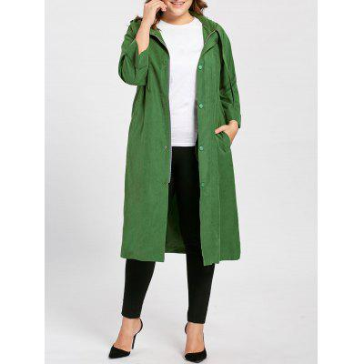 Plus Size Faux Sueded Longline Hooded Coat
