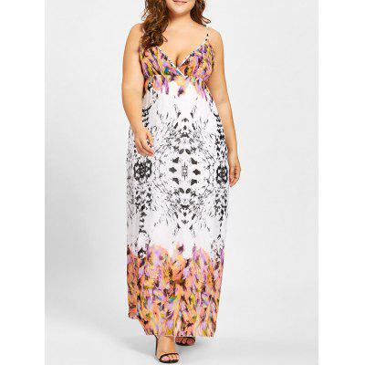 Empire Waist Feather Print Plus Size Dress
