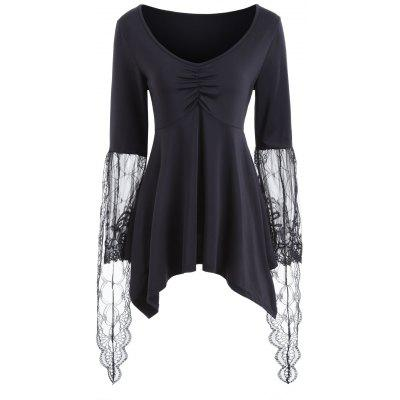 Lace Flare Sleeve Asymmetric Blouse