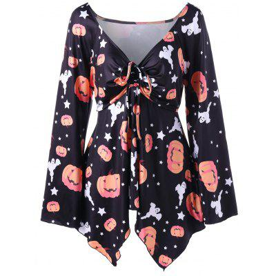 Halloween Plus Size Pumpkin Print Empire Waist T-shirt