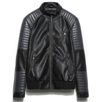 Raglan Sleeve Zip Up Faux Leather Jacket