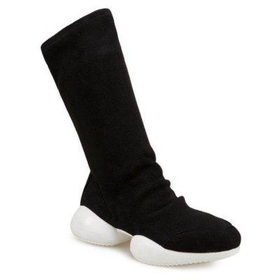 Faux Suede Slip On Mid Calf Boots