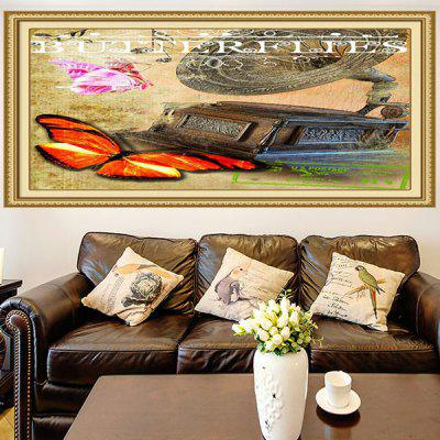 Multifunction Retro Butterflies Stick-on Wall Art Painting
