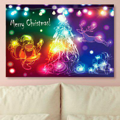 Christmas Elk Print Santa Claus Wall Art Canvas Painting