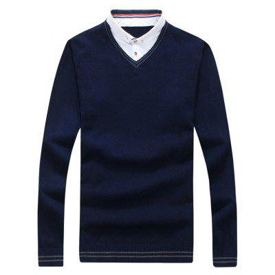 Button Down Painel Faux Twinset Polo Sweater