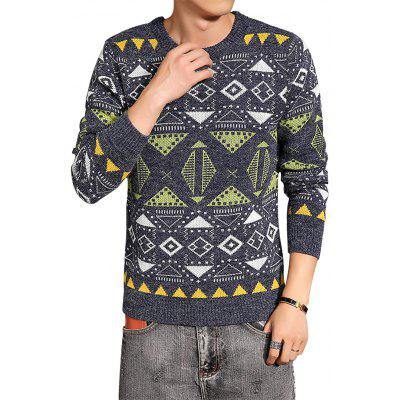 Crew Neck Color Block Geometric Jacquard Sweater