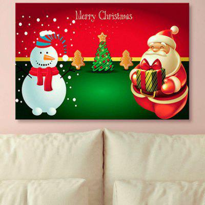 Christmas Snowman Print Santa Claus Canvas Painting