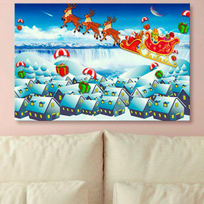 Christmas Sled Print Snowscape Wall Art Canvas Painting