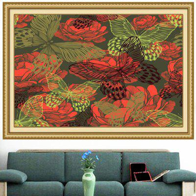 Peonies Butterflies Patterned Wall Art Decorative Painting