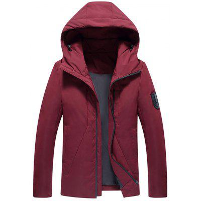 Hooded Applique Zip Up Down Jacket