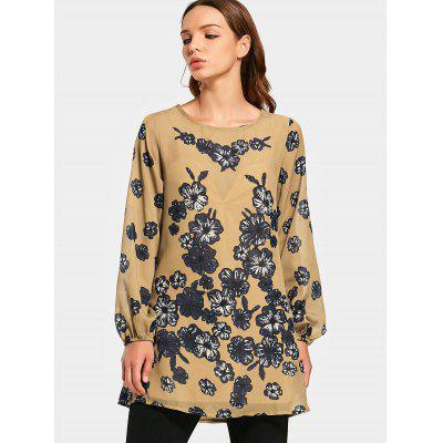 Round Neck Flower Print Swing Blouse