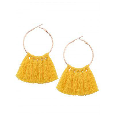 Alloy Circle Tassel Hoop Earrings