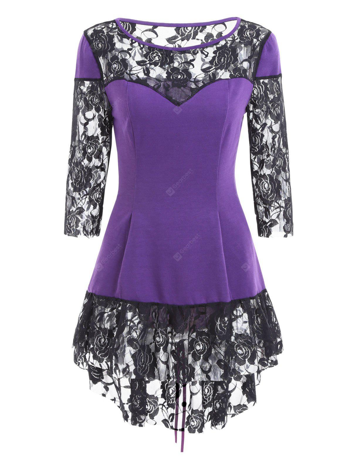 Dentelle Insert Lace Up High Low Blouse