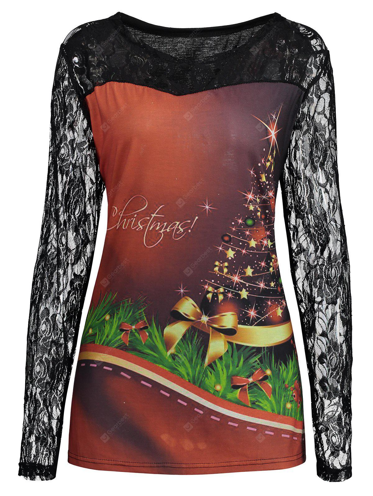 Plus Size Lace Yoke Christmas Tree Print T-shirt